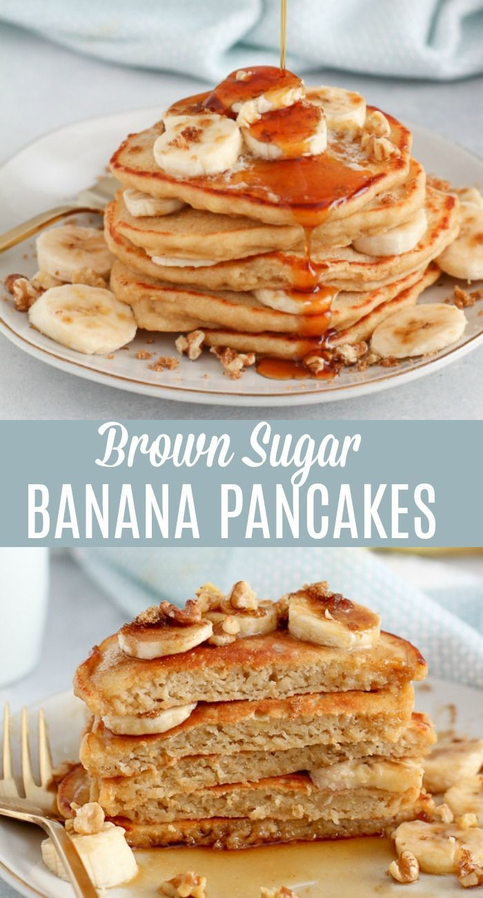 Tender And Fluffy Banana Pancakes Sweetened With Brown Sugar And Flavored With Vanilla The Banana Pancakes Recipe Homemade Banana Pancakes Pancake Recipe Easy