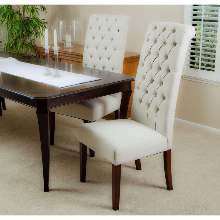 christopher knight home tall natural tufted dining chairs set of 2 overstock - Fabric Dining Chairs