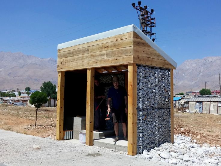DURAK Ovacık by Plankton Project, 2015. A bus stop designed for a deprived region, made up of reclaimed metal gabions filled with rocks from a nearby river. planktonproject.com