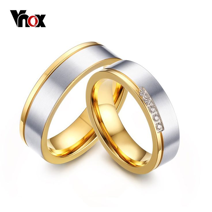 Vnox 2016 New Wedding Rings for Women Men Anillos Gold Plated Promise Jewelry