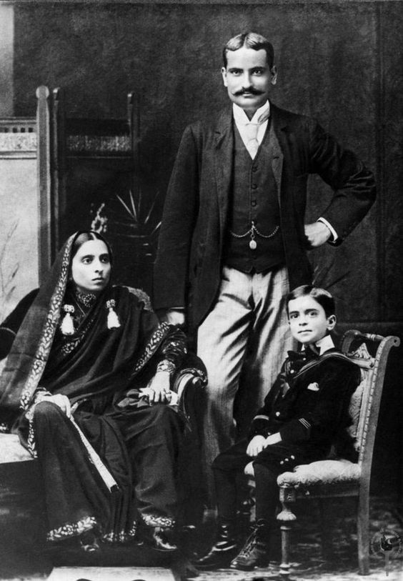 Jawaharlal Nehru with his mother Swarup Rani and father Motilal Nehru, 1894. (Photo: Nehru Memorial Museum and Library):
