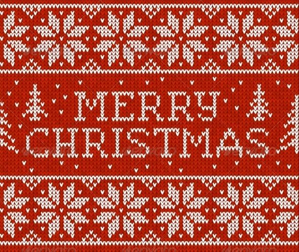 Red vector knitted seamless pattern with sign Merry Christmas