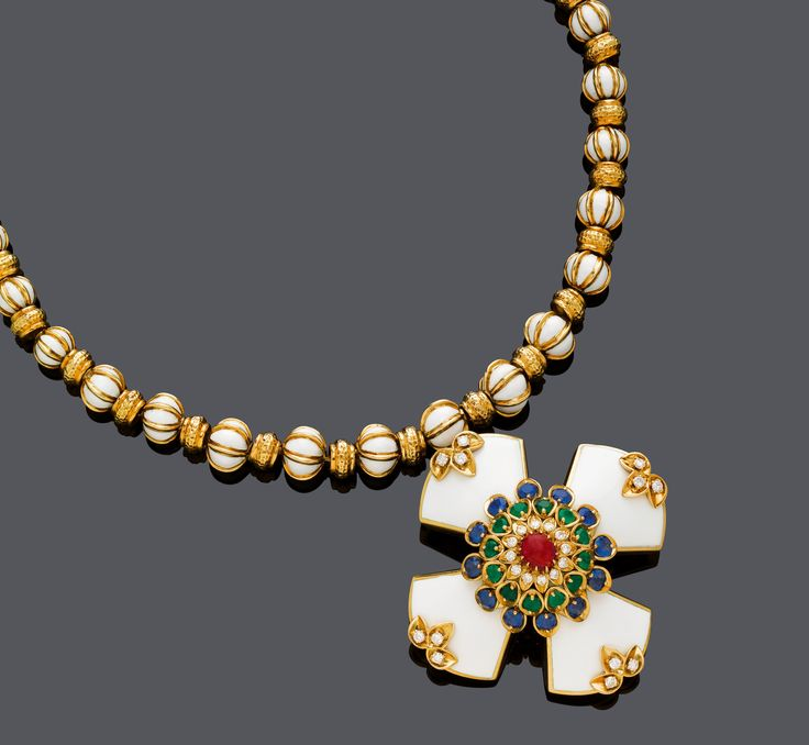 An enamel, gemstone and diamond necklace with two matching bracelets, by David Webb