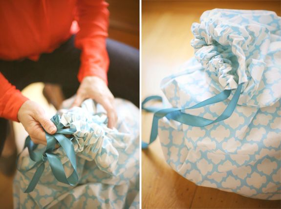 DIY laundry bag made from a bed sheet.