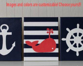Guardería náutica decoración pintura náutica por JoanitaBonita