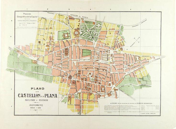 Plano de Castellon de la Plana, facilitado y revisado por el Ayuntamiento, entre 1920 y 1927. Escala 1: 5000