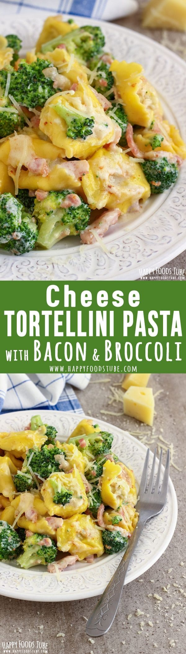 This cheese tortellini pasta with broccoli and bacon recipe is a quick weeknight dinner idea! All you need is 5-ingredients and 20-minutes. Easy to make Italian food. #tortellini #pasta #broccoli #bacon #recipe #italianfood #cooking #lunch #dinner #cheese (cheap pasta casserole)