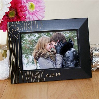 Engraved Couples Tree Carving Black Frame | Tree Carving Black Picture Frame