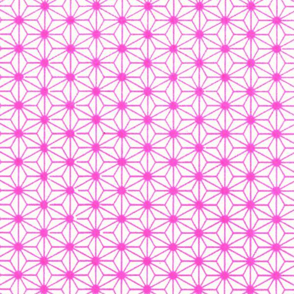 Papier Japonais / Référence : M428 tags papier japonais washi chiyogami yuzen rose fluo etoiles - Adeline Klam