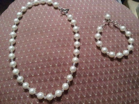 Swarovski crystal pearl necklace and bracelet by RoseDOrJewelry, $75.00