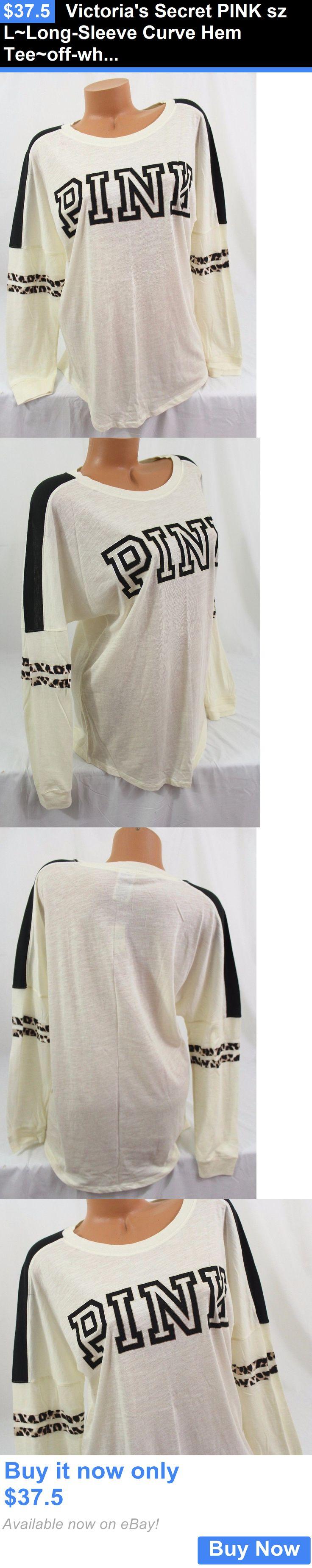 Women T Shirts: Victorias Secret Pink Sz L~Long-Sleeve Curve Hem Tee~Off-White/Black/Leopard BUY IT NOW ONLY: $37.5