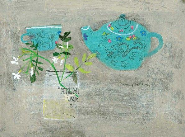 Jasmine and Lapsang Souchong by Elaine Pamphilon | Mixed media on wooden panel | 30 x 40 cm #elainepamphilon #tannerandlawson #stilllife
