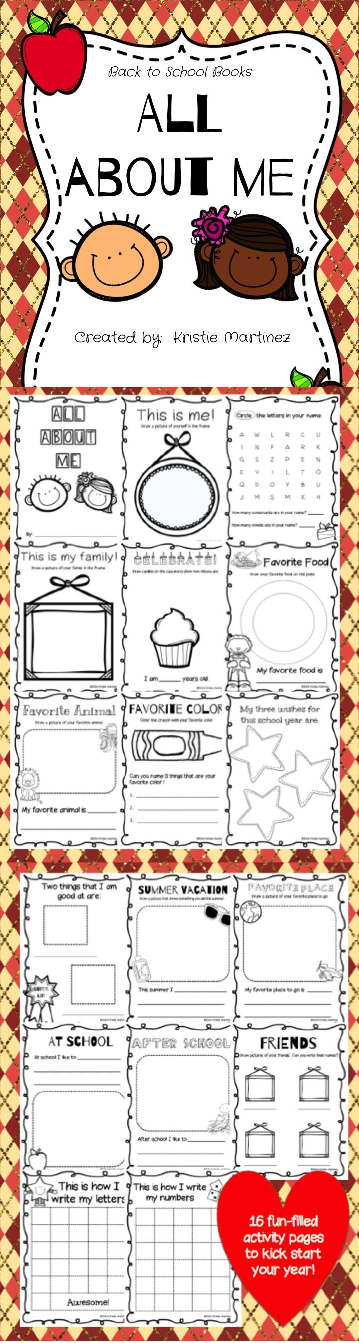 "This ""All About Me"" book is filled with 16 opportunities for your students to share about themselves. Upon the completion of this booklet, you will have gathered background information across various topics about each of your students. I hope that you will have as much fun learning about your students as they will completing this book!"
