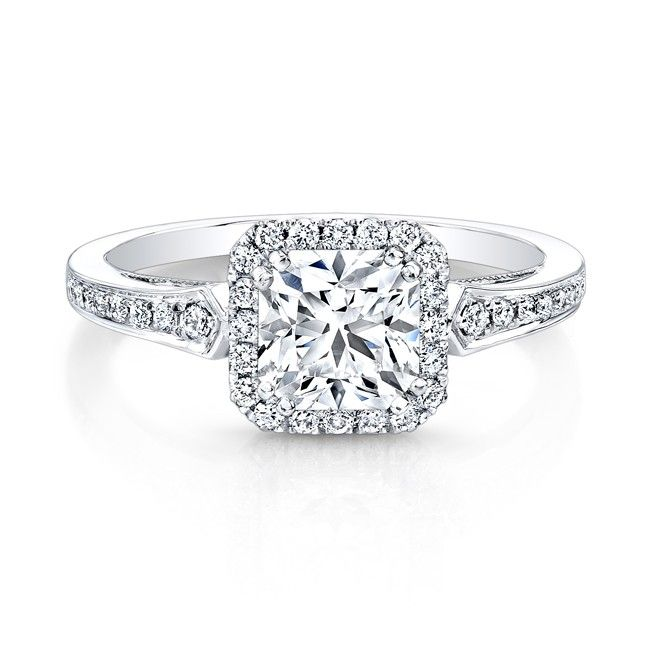 18K White Gold Vintage Inspired Square Diamonds Halo Engagement Ring I like