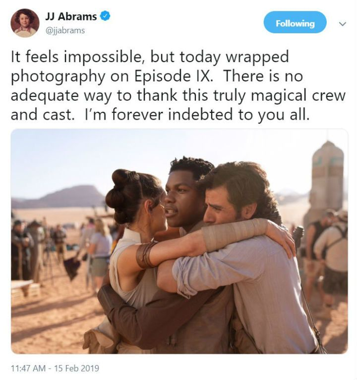 Star Wars Episode Ix Finishes Filming J J Abrams Posts Set