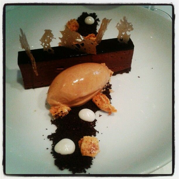 Bitter Chocolate Pavé with Salt Caramel Ice Cream, Honeycomb and Thyme from-   Kitchen W8, London
