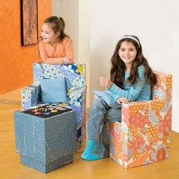 """Made from cardboard boxes covered with colorful paper, these pint-size furnishings are perfect for a playroom or a child's bedroom. Light enough for kids to rearrange, they're also surprisingly durable. Plus, they can be """"reupholstered"""" with a brand new layer of scrapbook paper or gift wrap whenever you're ready to update their look. Super fun project!"""