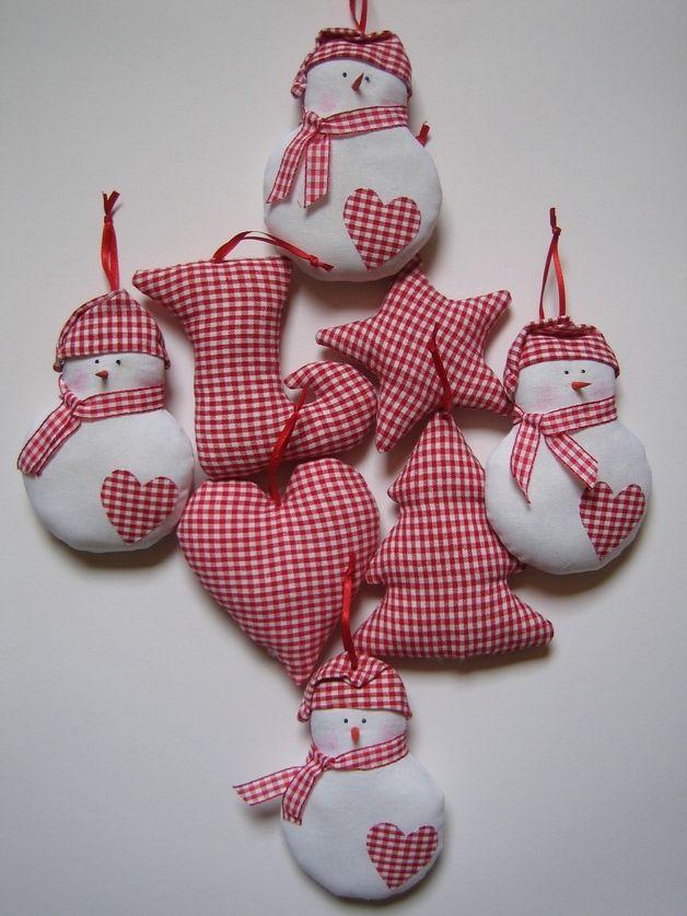 Baumschmuck: Stoff - Weihnachtsdeko 8 teilig - ein Designerstück von Hand-made-by-Petra bei DaWanda