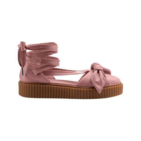 Women's Fenty X Puma Bow Creeper Sandals ($140) ❤ liked on Polyvore featuring shoes, sandals, puma sandals, puma creeper, bow shoes, puma shoes and puma footwear