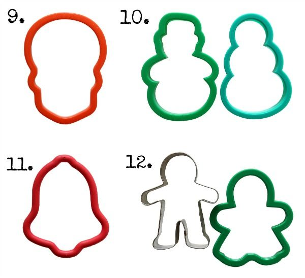 20 Most Useful Cookie Cutters, that every cookie baker should own!  20 different shapes from snowman, bells, gingerbread man, etc., that can be turned into SO much more!!!  via SugarBelle