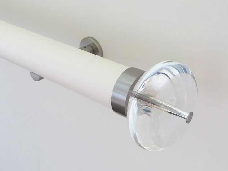 50mm Matt Lacquered pole 'soft white' with Acrylic Ellipse finial - great combo for an understated but stylish window dressing