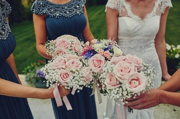 Blush pink roses and baby's breath vintage wedding bouquets / flowers