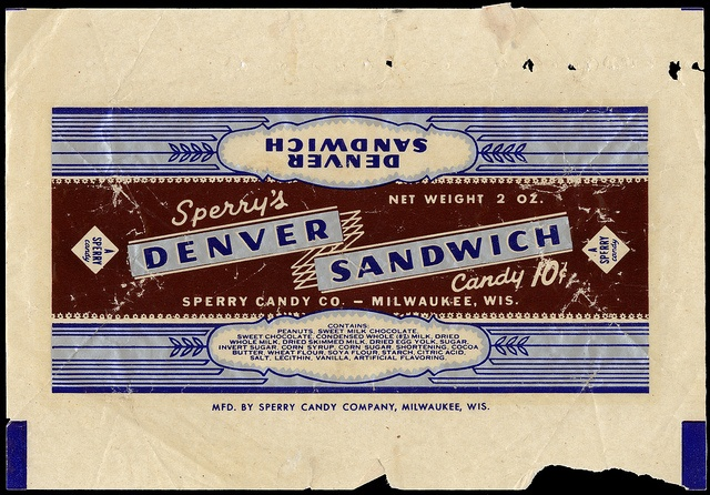Sperry's - Denver Sandwich - candy bar wrapper - 1940's 1950's by JasonLiebig, via Flickr: Denver Sandwiches, Candy Bars, Candy Bar Wrappers, Delicious Art, 1940S Culture, 1940 S 1950 S, 1940S 1950S, Sandwiches Candy, Photo