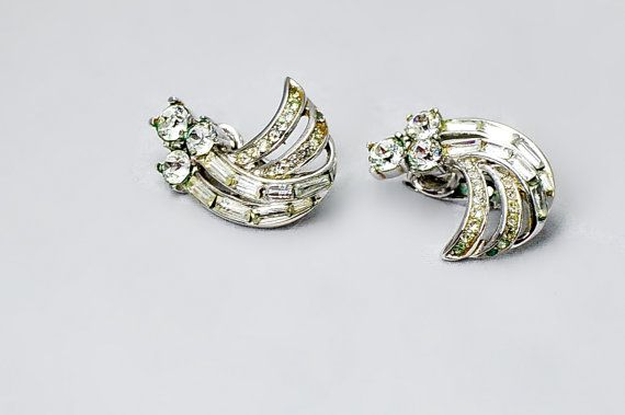Crown Trifari Silver Rhinestone Clip On by StarfishCollectibles