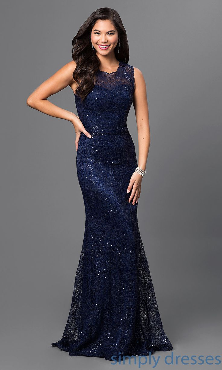 Shop long lace-sequined formal gowns and sleeveless military ball gowns at Simply Dresses. Floor-length mermaid prom dresses and long lace gowns.