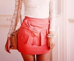 .: Outfits, Lace Tops, Style, Colors, Bows Skirts, Pink Bows, Lace Bows, Lace Shirts, Cute Skirts