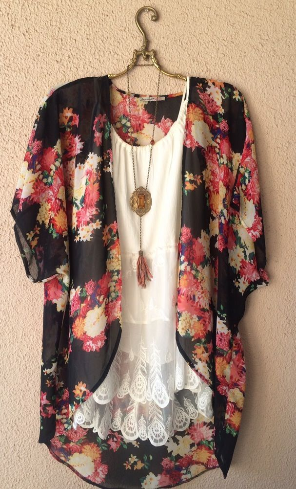 Image of Black with roses silk chiffon Gypsy beach boho resort kimono  Layer for…