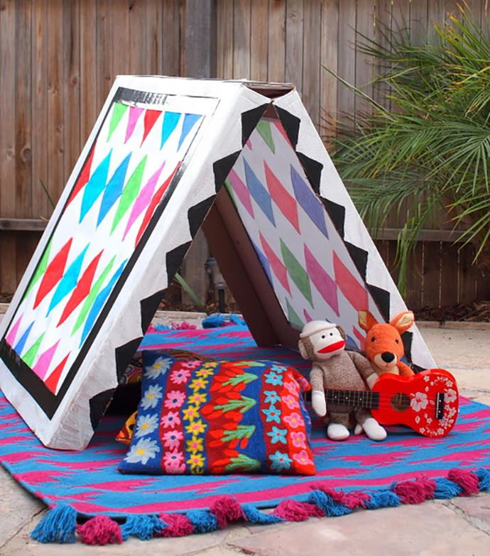 DIY Collapsible Cardboard Tent Craft-This is a great way to reuse old moving boxes and showcase your child's artwork!  (Plus, you don't have to spend a fortune on kids' tents!)