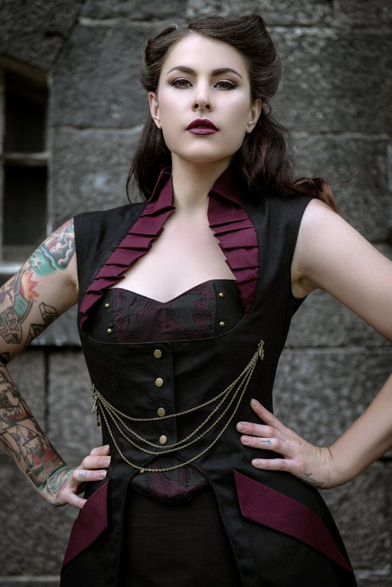 Steam Punk Gothic Burelsque Full Length Victorian Steampunk Black Jacket Coat Vest