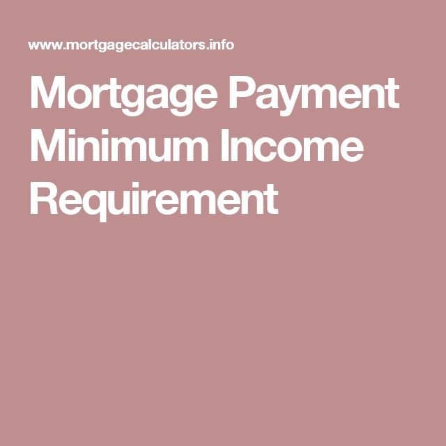 Mortgage Payment Minimum Income Requirement