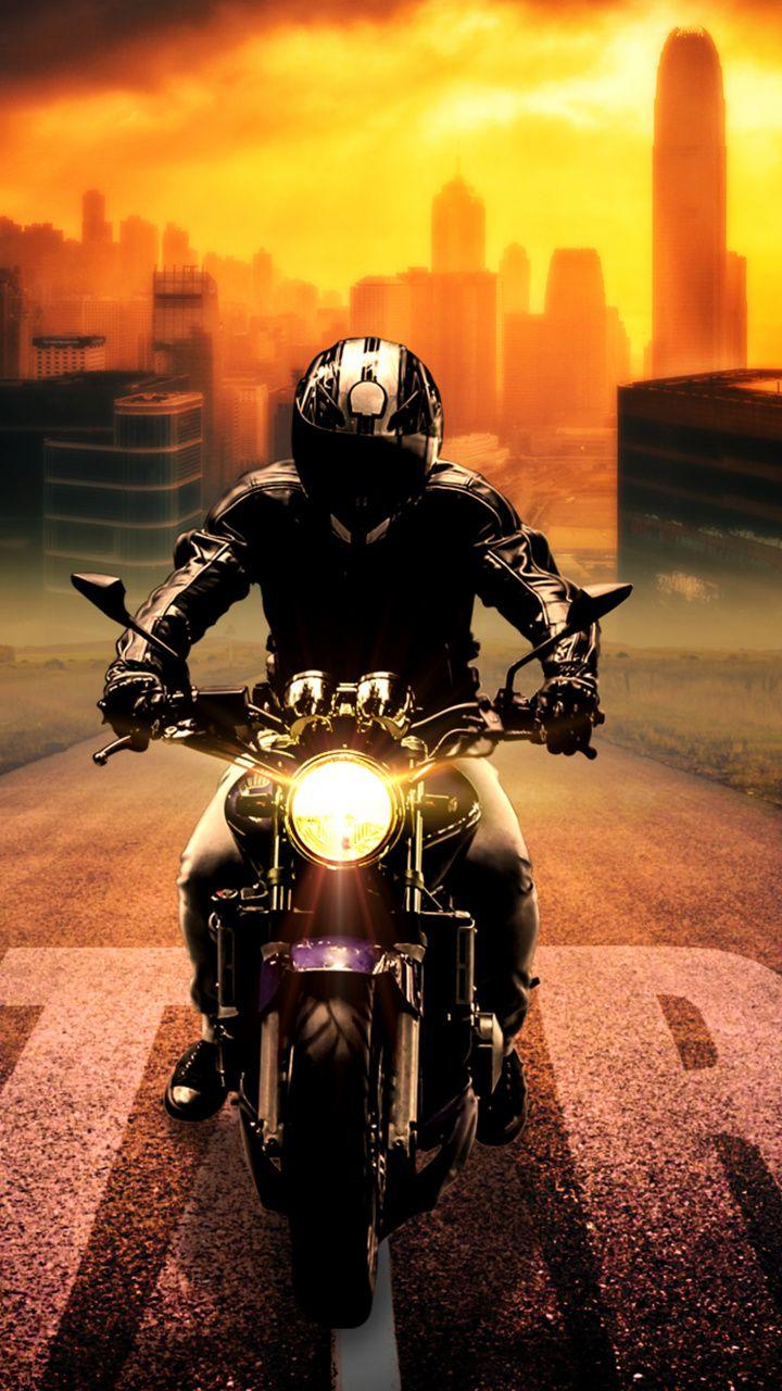 720x1280 Biker Bike Digital Art Wallpaper Motorcycle Wallpaper