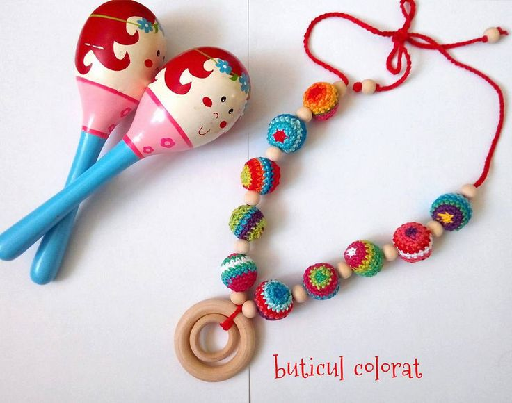 Mexic inspiration, teething necklace, nursing necklace, rainbow, wooden toys, babywearing, rumba shaker, maracas, colour necklace, rattle by ButiculColorat on Etsy