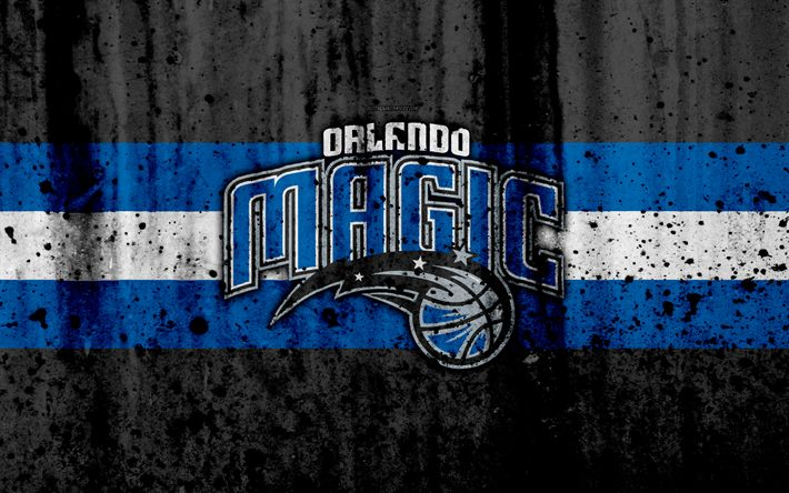 Download wallpapers 4k, Orlando Magic, grunge, NBA, basketball club, Eastern Conference, USA, emblem, stone texture, basketball, Southeast Division