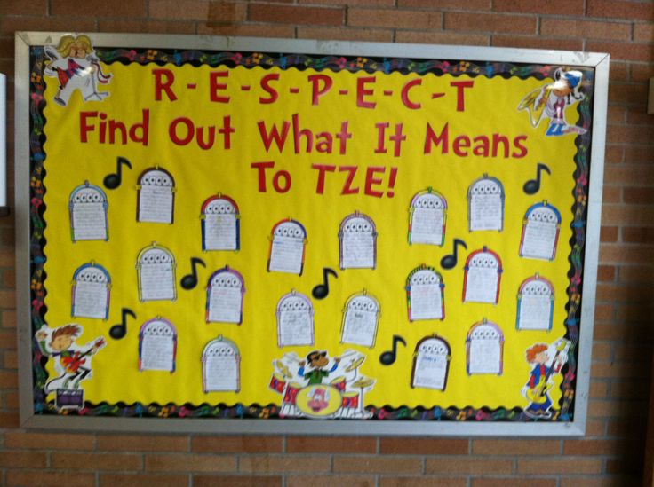 Respect bulletin board: students write on jukeboxes how to show respect at school.
