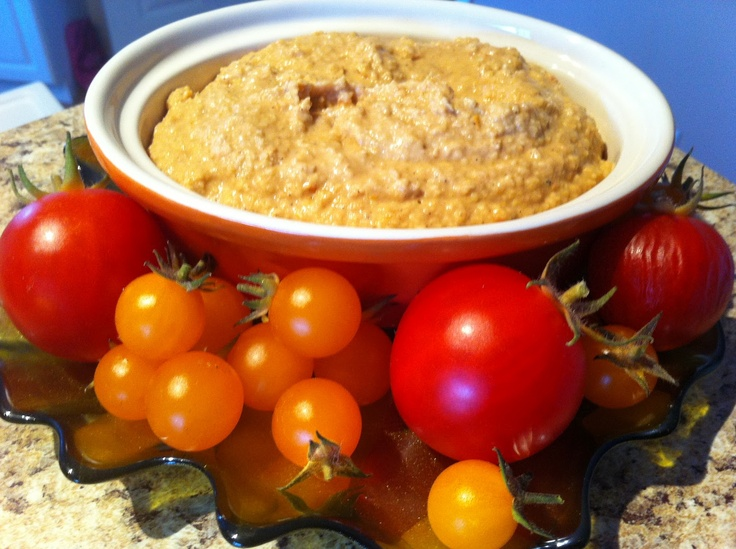 delish in a dish: Roasted Tomato and Garlic Hummus