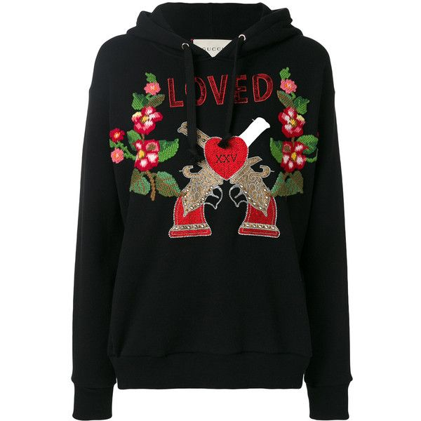Gucci embroidered hooded sweatshirt ($2,200) ❤ liked on Polyvore featuring tops, hoodies, black, cotton hoodies, long sleeve hooded sweatshirt, long sleeve sequin top, embroidered hoodie and cotton hooded sweatshirt