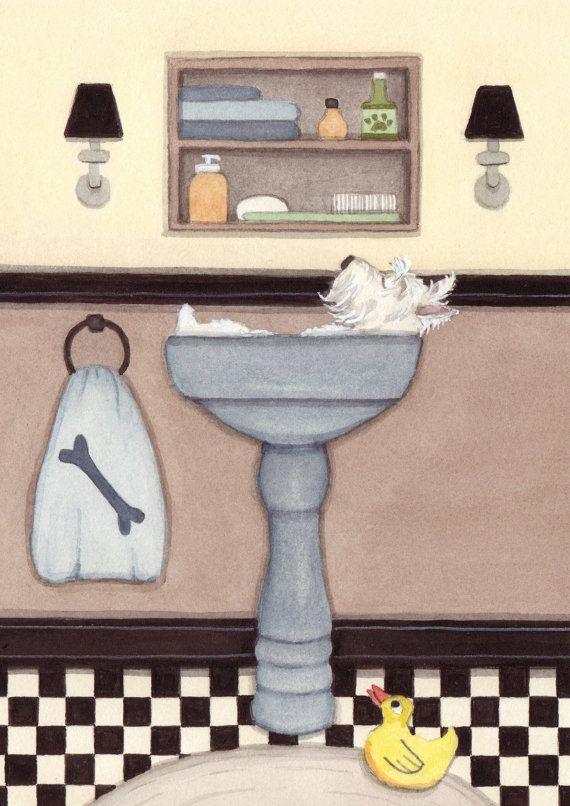 West Highland Terrier (westie) fills sink at bath time / Lynch signed folk art print