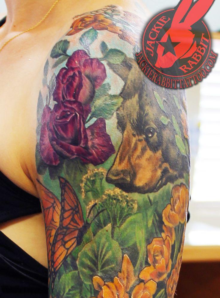 Flower Garden Butterfly Bear Rose Color Sleeve Tattoo by Jackie Rabbit