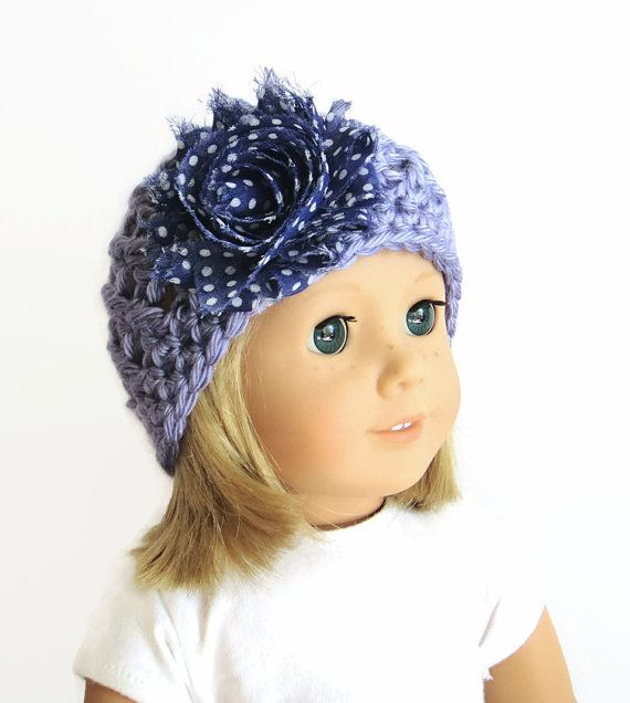 Knit Doll Hat Purple Doll Hat Crochet Hat with by PreciousBowtique