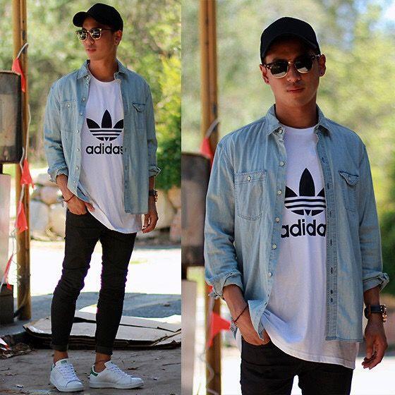 Denim Shirt with Adidas T-Shirt #mensfashion #outfit #blue