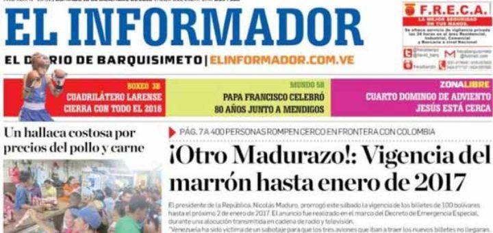 Portadas de los diarios nacionales y regionales de este domingo - http://www.notiexpresscolor.com/2016/12/18/portadas-de-los-diarios-nacionales-y-regionales-de-este-domingo-2/