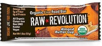 A bulk box of 12 bars of Raw Revolution Almond Butter Cup.