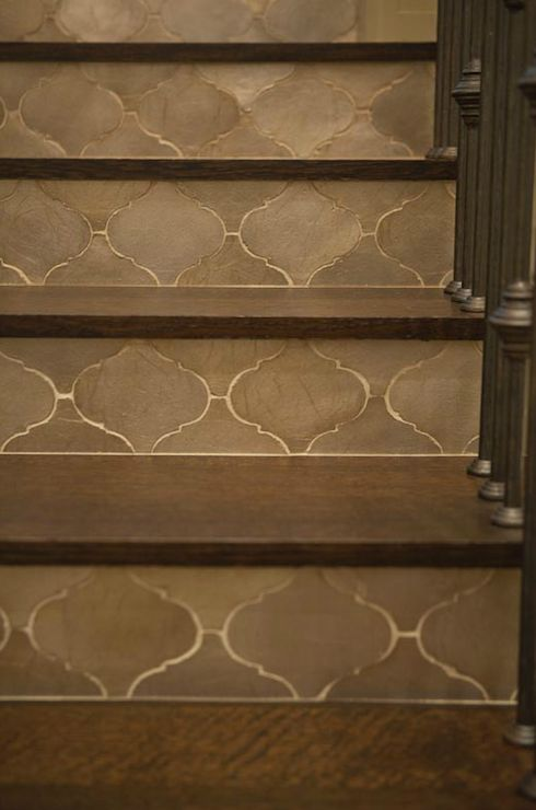 Taylor Borsari - entrances/foyers - moroccan tiled stairs, gray moroccan tiles, moroccan staircase,  Incredible staircase with gray Moroccan