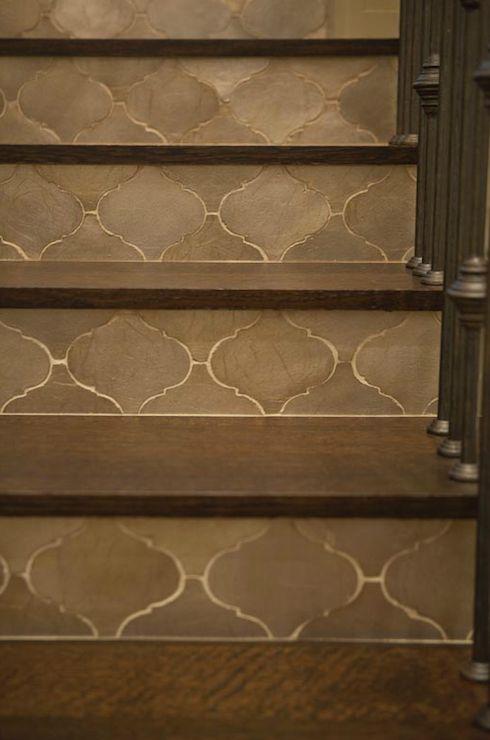 Taylor Borsari - entrances/foyers - moroccan tiled stairs, gray moroccan tiles, moroccan staircase,  Incredible staircase with gray Moroccan
