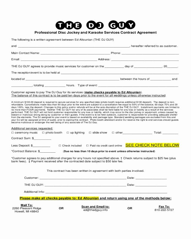 16 Dj Contract Templates Pdf Word Google Docs Apple Pages