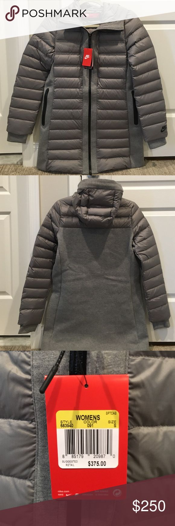 Brand new beautiful Nike winter coat with hood Brand new with tags Nike part puffer winter coat with hood- very warm. Gorgeous gray material. 2 pockets on both sides of the jacket. Zip up collar. PRICE NOT FIXED, OPEN FOR NEGOTIATION- just make offer. Nike Jackets & Coats Puffers